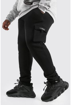 Black Plus Size Cargo Joggingbroek Met Rubberen Label