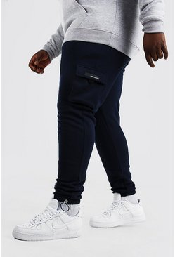 Navy Plus Size Cargo Joggingbroek Met Rubberen Label
