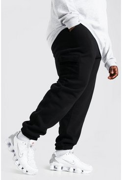 Black Plus Size Cargo Joggingbroek Met Polar Fleece Zakken