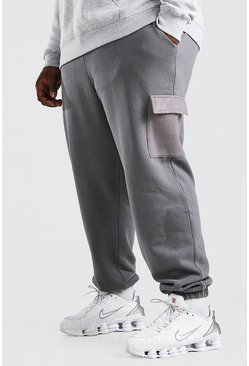 Slate grey Plus Size Cargo Joggingbroek Met Polar Fleece Zakken