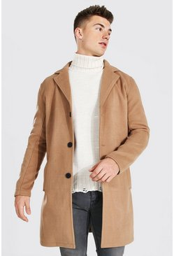 Camel beige Single Breasted Wool Mix Overcoat