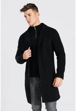 Single Breasted Wool Mix Overcoat, Black Чёрный