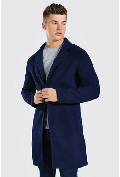 Navy Single Breasted Wool Mix Overcoat