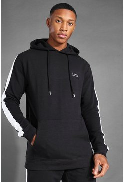 Black MAN Active Side Stripe Over The Head Hoodie