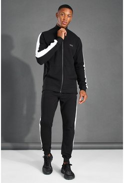 MAN Active Zip Funnel Neck Side Stripe Tracksuit, Black negro