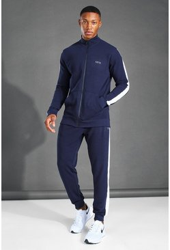 MAN Active Zip Funnel Neck Side Stripe Tracksuit, Navy azul marino