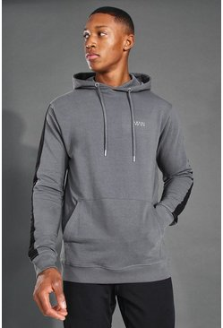 Charcoal grey MAN Active Side Stripe Over The Head Hoodie