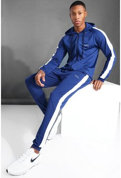 Navy MAN Active Side Stripe Zip Through Hooded Tracksuit