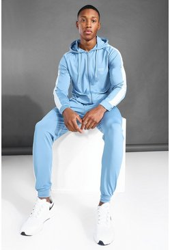 Dusty blue blue MAN Active Side Stripe Zip Hooded Tracksuit