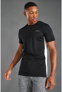 Black Man Active T-Shirt Met Zijstreep