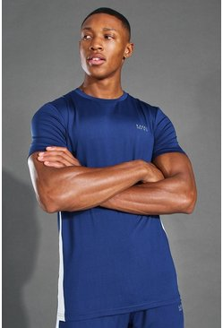 Navy MAN Active Side Stripe T Shirt