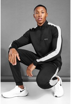 Black MAN Active Zip Funnel Neck Side Stripe Tracksuit