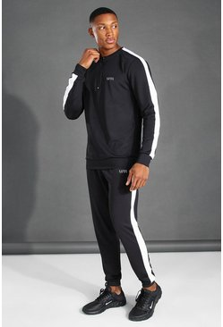 Black MAN Active Crew Neck 1/4 Zip Side Stripe Tracksuit