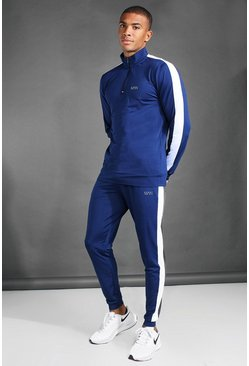 Navy MAN Active Zip Funnel Neck Side Stripe Tracksuit