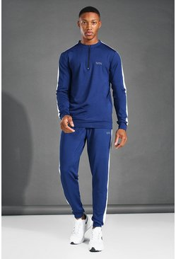 Navy MAN Active Crew Neck 1/4 Zip Side Stripe Tracksuit