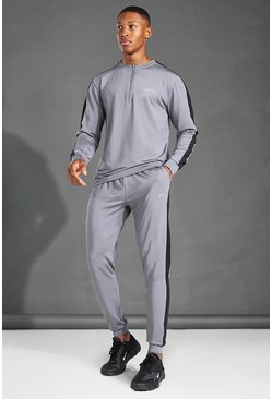 MAN Active Crew Neck Zip Side Stripe Tracksuit, Charcoal gris