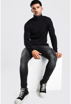 Black Regular Fit Ribbed Roll Neck Jumper