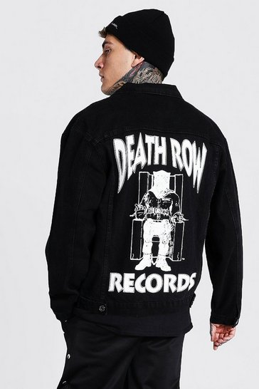 Black Oversized Death Row License Denim Jacket