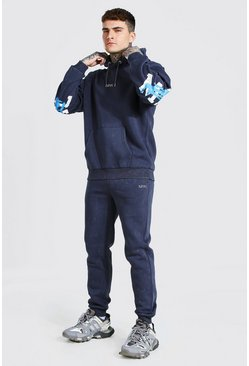 Charcoal grey Oversized Acid Wash MAN Official Tracksuit