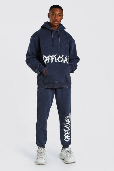 Charcoal grey Loose Fit Acid Wash Official Print Tracksuit