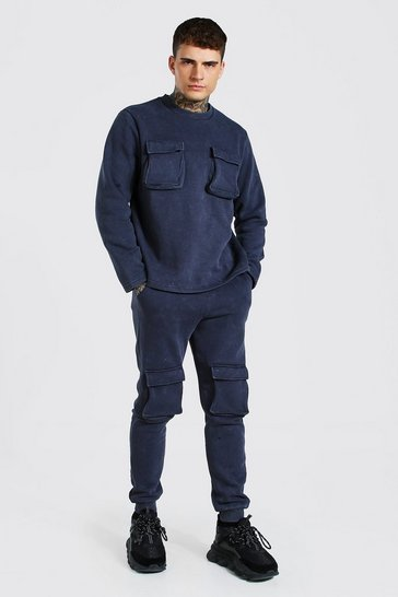 Charcoal grey Acid Wash Utility Sweater Tracksuit