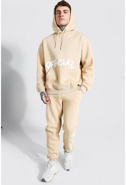 Stone beige Oversized Official Print Hooded Tracksuit