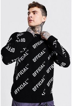 Black Official Crew Neck Oversized Knitted Jumper