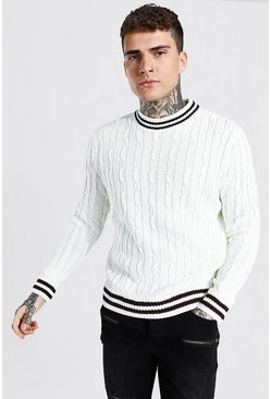 Turtle Neck Striped Cable Knitted Jumper , Cream blanco