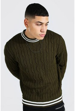 Green Turtle Neck Striped Cable Knitted Jumper