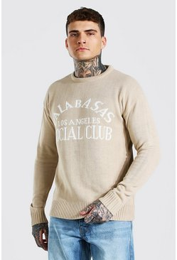 Beige Calabasas Loose Fit Knitted Crew Neck Sweater