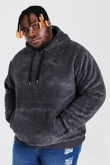 Charcoal grey Plus Size Two Tone Borg Hoodie