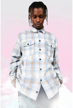 Heavy Weight Check Overshirt, Powder blue azul