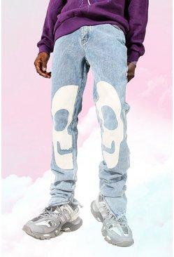 Ice blue Skinny Rigid Stacked Skull Applique Jean