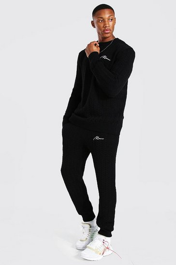 Black Cable Knitted Jumper & Jogger Set