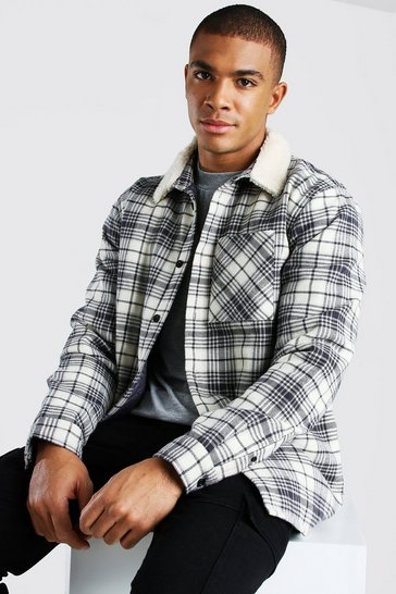 Beige Quilted Utility Check Overshirt With Borg Collar