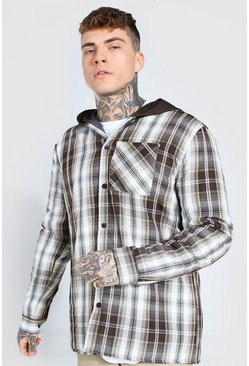 Quilted Utility Check Overshirt With Hood, Brown marrone