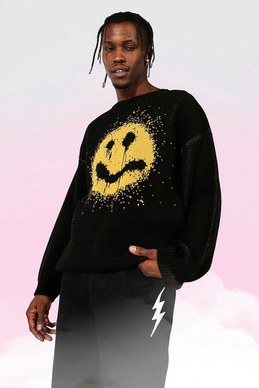 Black Drip Face Oversized Crew Neck Knitted Jumper