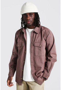 Long Sleeve Twill Utility Overshirt, Choc brown