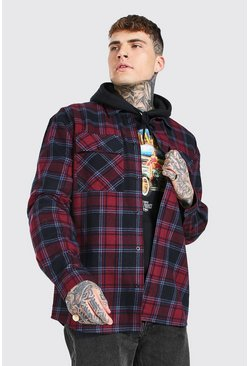 Burgundy red Long Sleeve Oversized Flannel Shirt