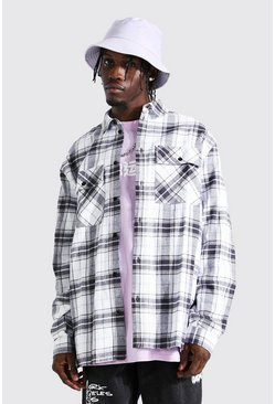 Ecru white Long Sleeve Oversized Check Shirt