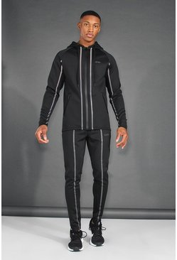 Black MAN Active Reflective Hooded Zip Through Tracksuit