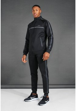 Black MAN Active Reflective Funnel Neck Tracksuit