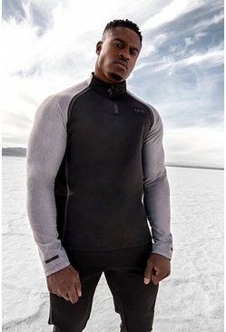 Black MAN Active Reflective Raglan Funnel Neck Top