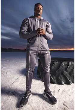 Grey MAN Active Reflective Hooded Zip Through Tracksuit