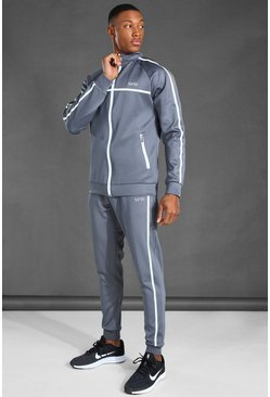 Grey MAN Active Reflective Funnel Neck Tracksuit