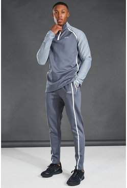 Grey MAN Active Reflective Raglan Funnel Neck Tracksuit
