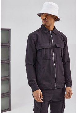Tailored Harrington Cargo Jacket, Black negro