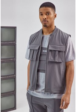 Charcoal grey Tailored Utility Vest