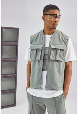 Olive green Tailored Utility Singlet