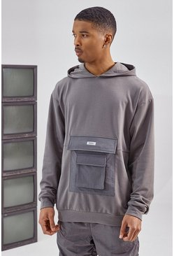 Charcoal grey Utility Pocket Over The Head Hoodie